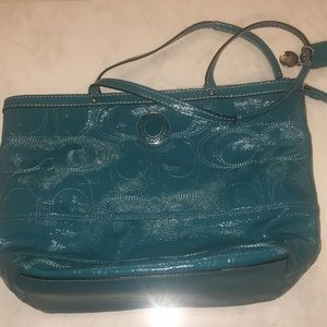 Coach teal F19198 purse